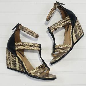 EUC Rachel Zoe Nancy Snakeskin Wedge Sandals